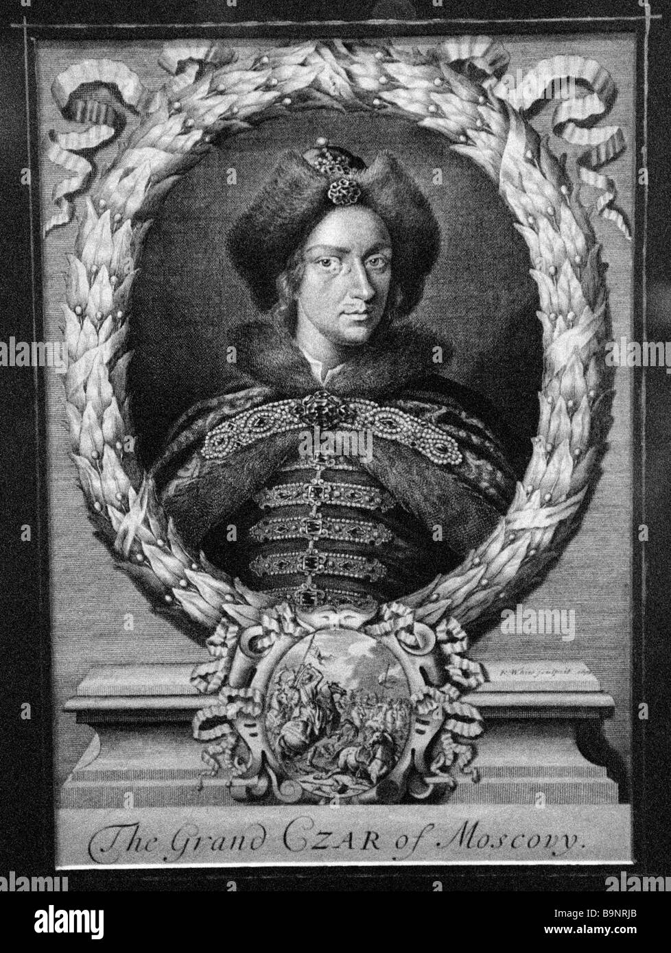 1698 copperplate print reproduction of P White s Portrait of Russian Tsar Peter the Great shown at 2003 Museums - Stock Image