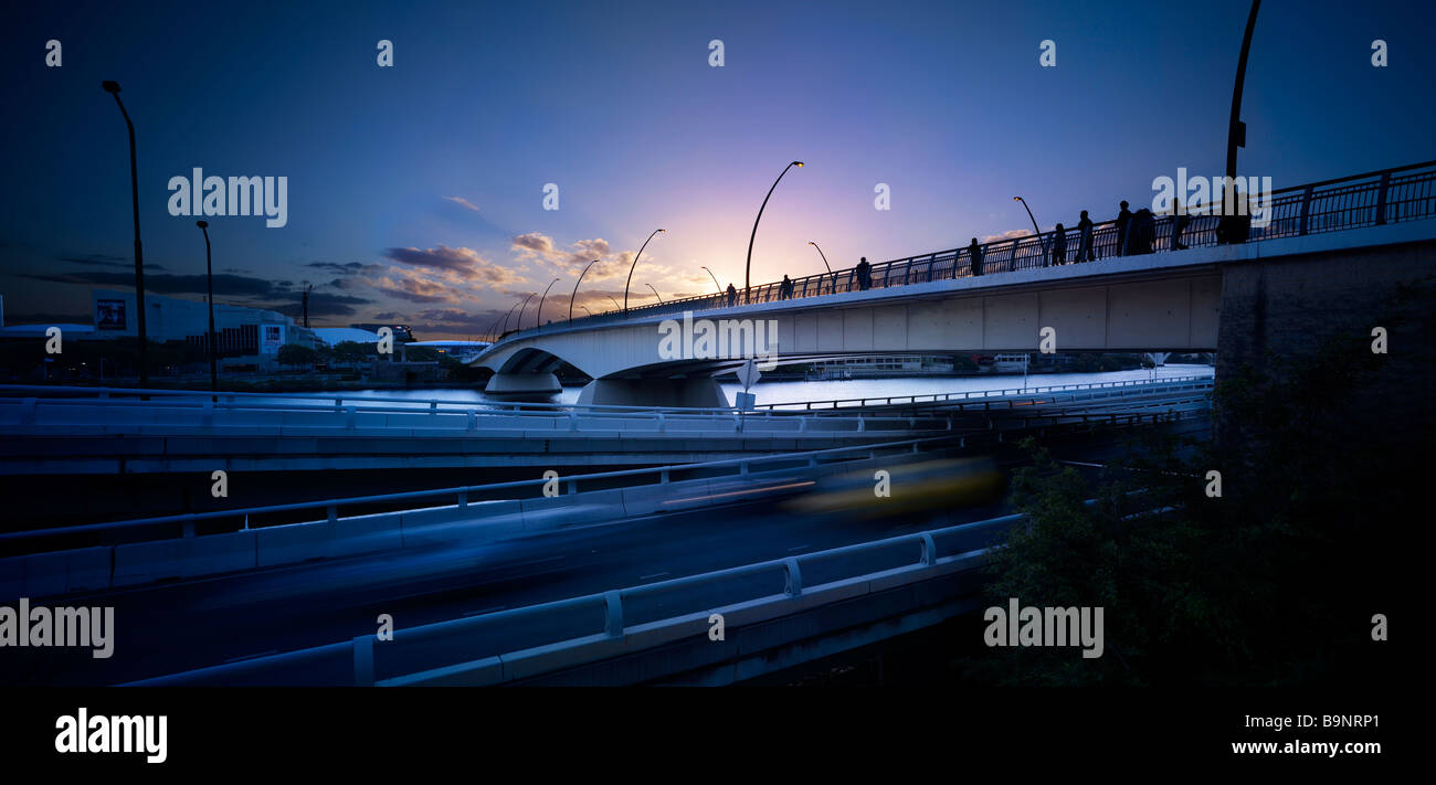 Victoria Bridge Brisbane Australia at sunset - Stock Image