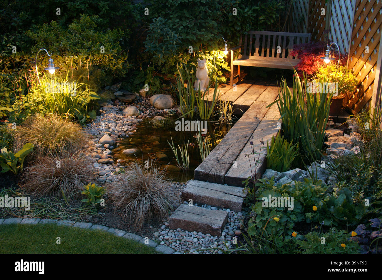 garden pond and water feature stock photos garden pond and water