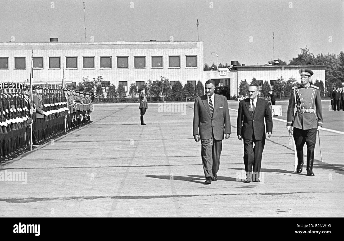 President of Egypt Gamal Abdel Nasser and Anastas Mikoyan chairman of the presidium of the USSR Supreme Council - Stock Image