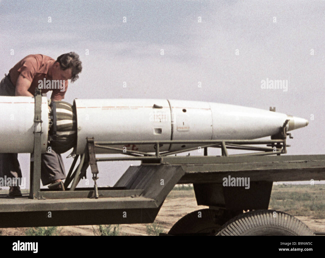 Docking the cone and airframe of meteorological rocket - Stock Image