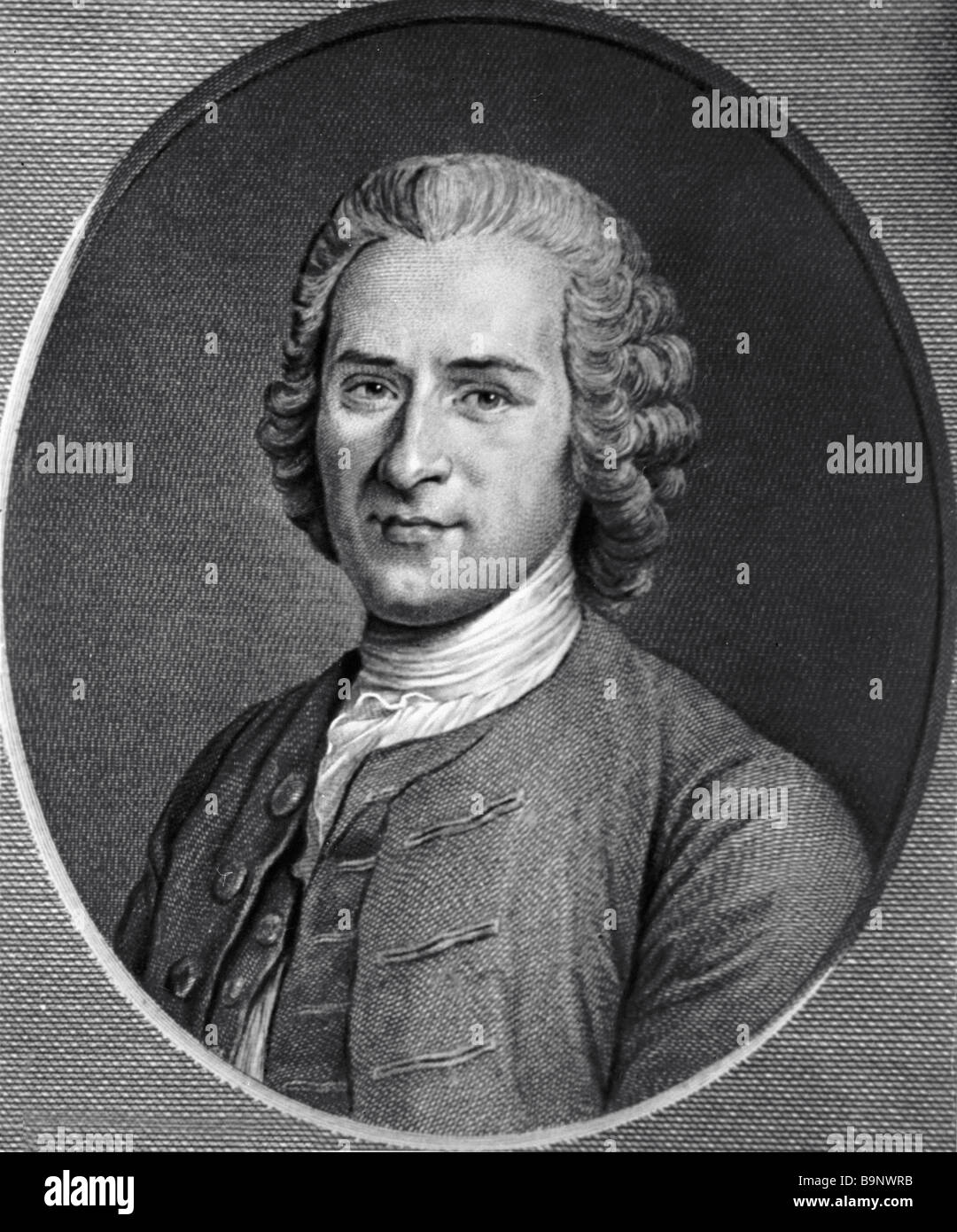 French philosopher and educator Rousseau 1712 1778 print by Augustine Saint Haubain made from a portrait by Maurice - Stock Image