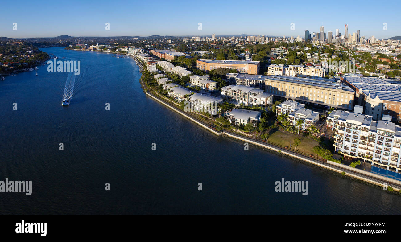 New Farm Brisbane Australia aerial panoramic view - Stock Image