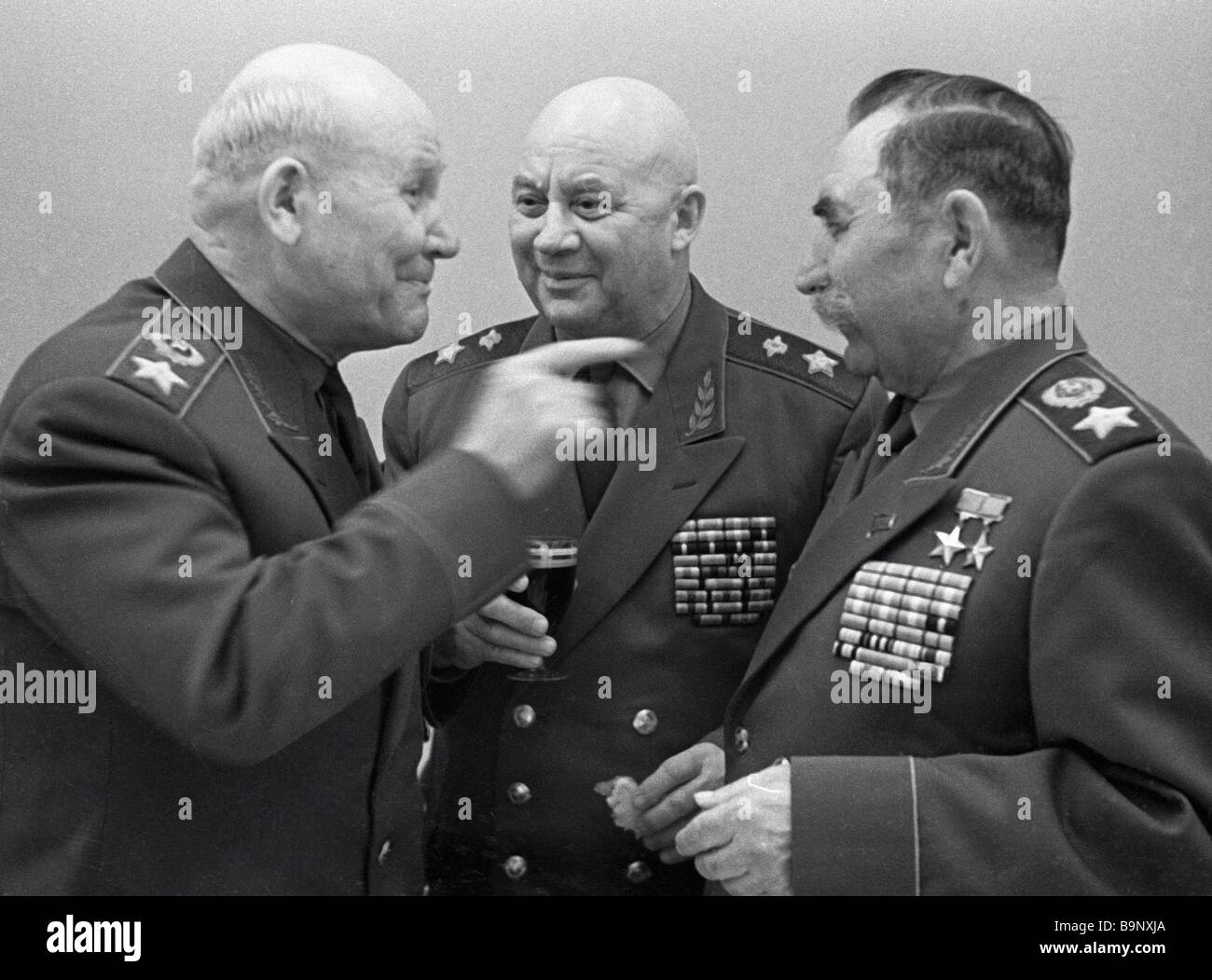 Marshal of the Soviet Union Ivan Konev left Marshal of Signals Alexei Leonov center and Marshal of the Soviet Union - Stock Image