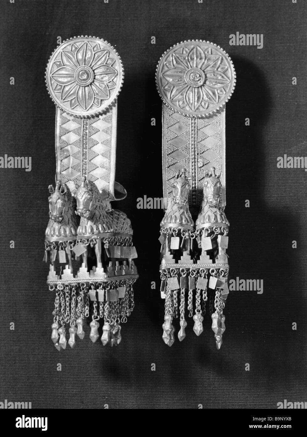 Gold temple pendants from Akhal gori 5th century BC embossed From the collection of the History Museum of Georgia - Stock Image