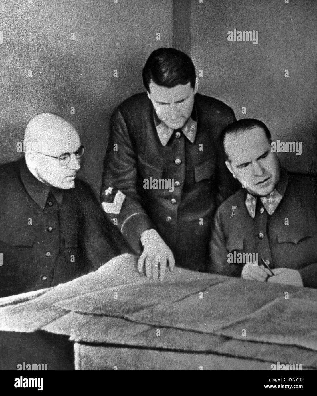 Left to right commander of the western front Army General Georgy Zhukov chief of staff Lieutenant General Vasily - Stock Image