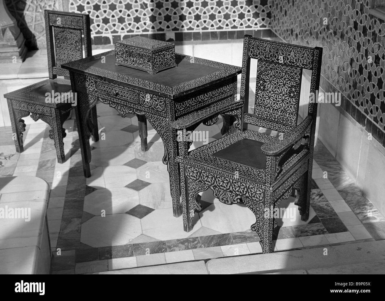 Carved furniture set from the collection of the Tashkent museum of applied art - Stock Image