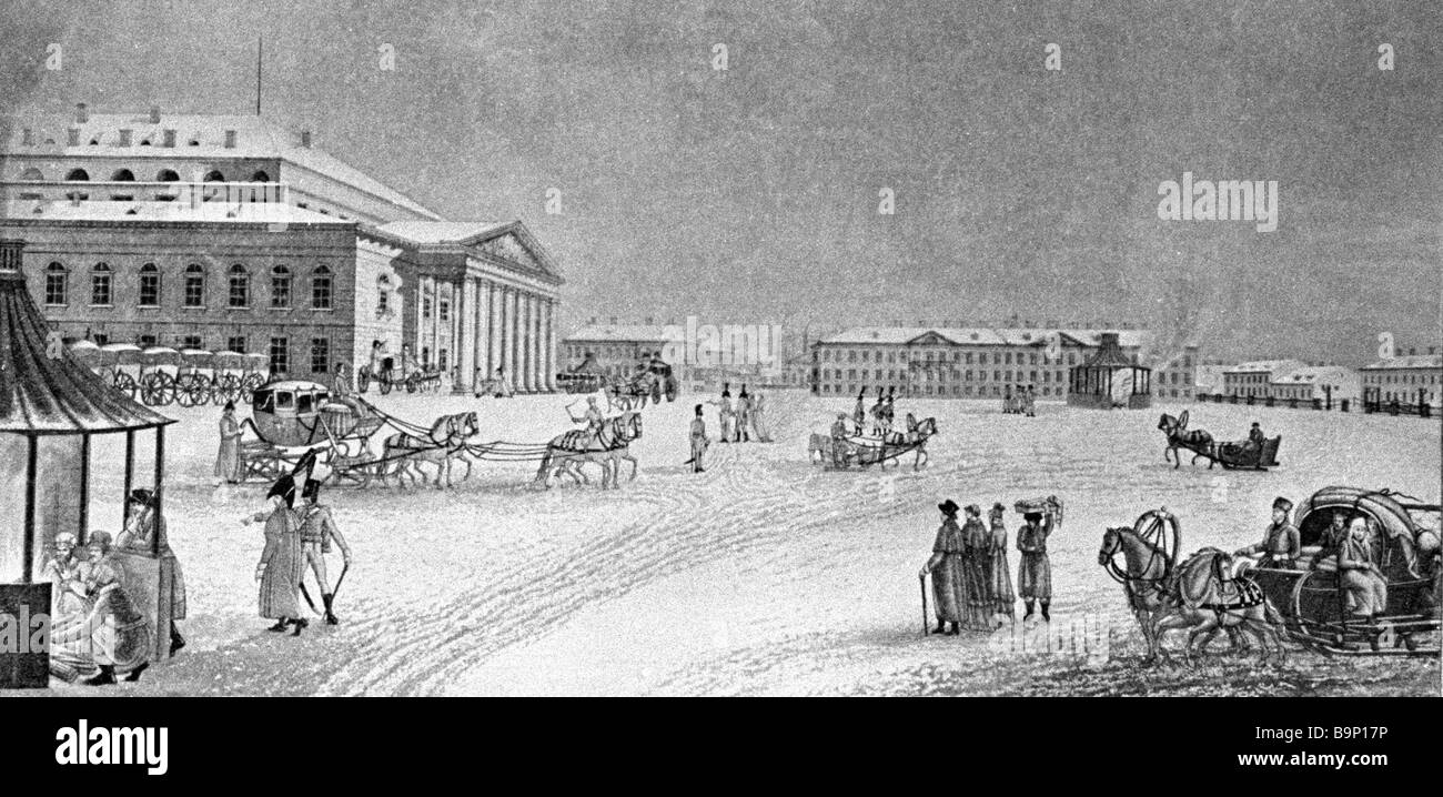Engraving with the depiction of the Bolshoi Theater in St Petersburg 18th 19th centuries Unknown artist St Petersburg - Stock Image