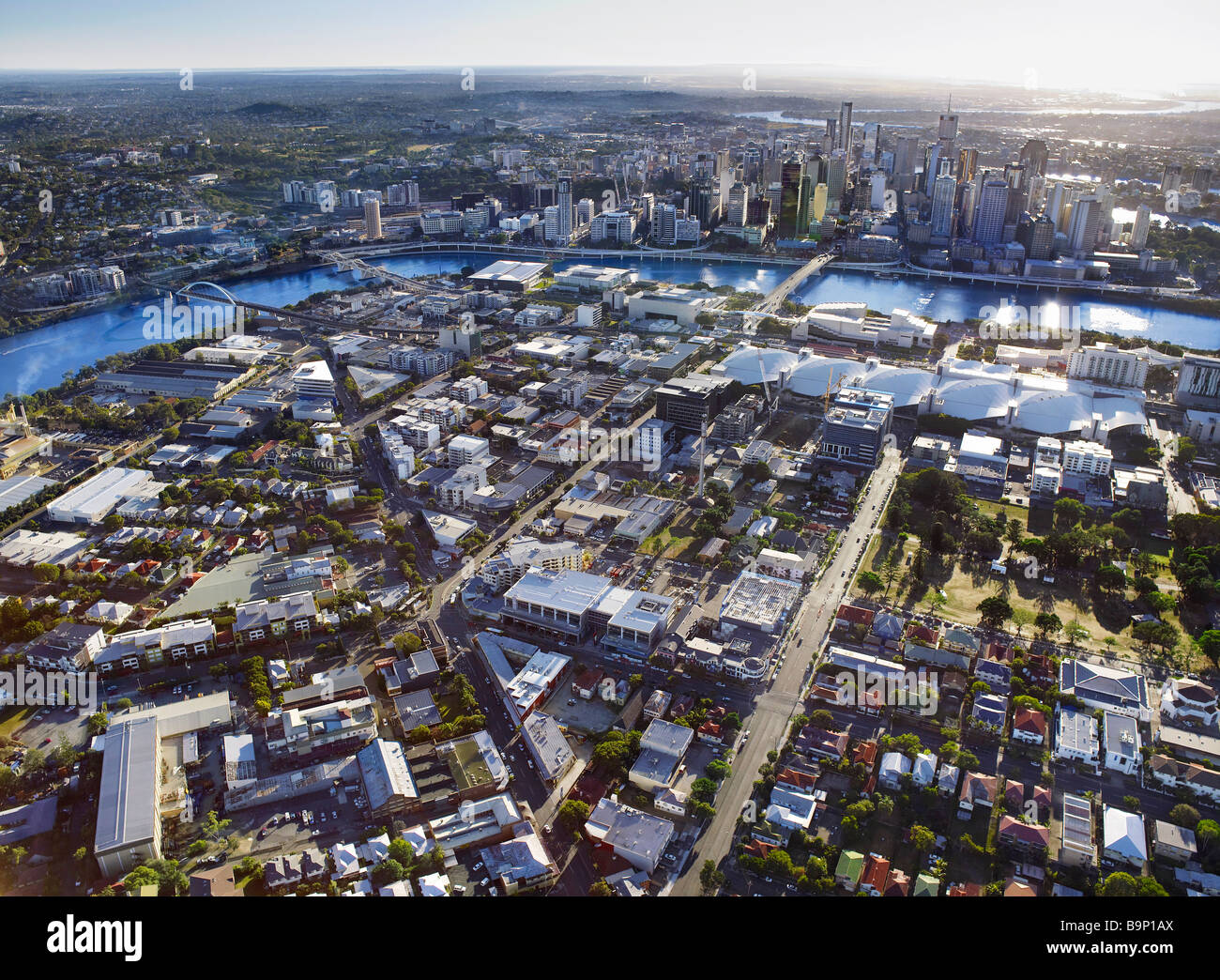 Aerial view of South Brisbane Australia - Stock Image