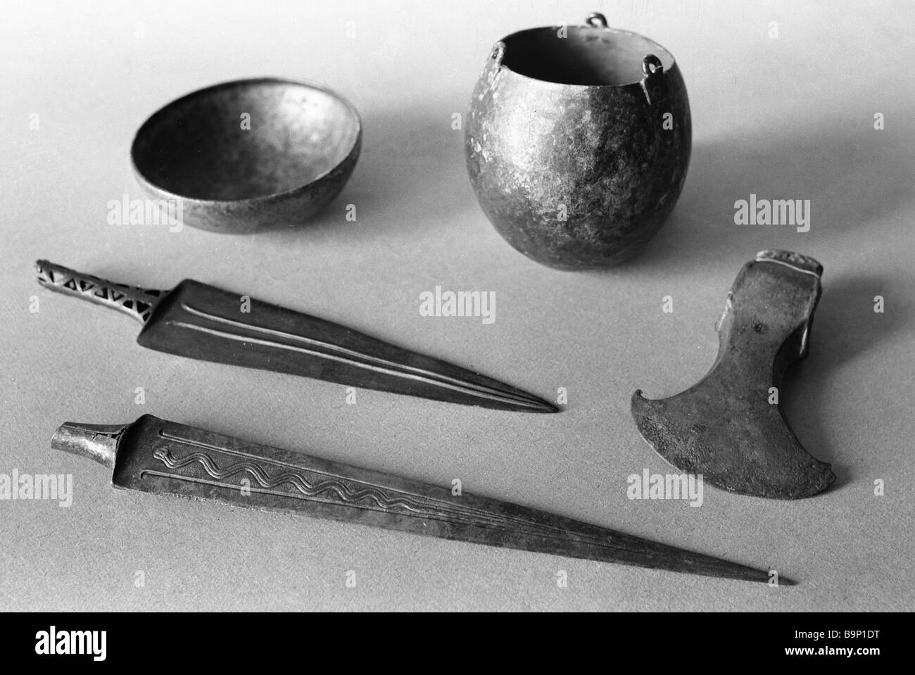 Bronze objects found in a burial ground on Mt Aragats - Stock Image