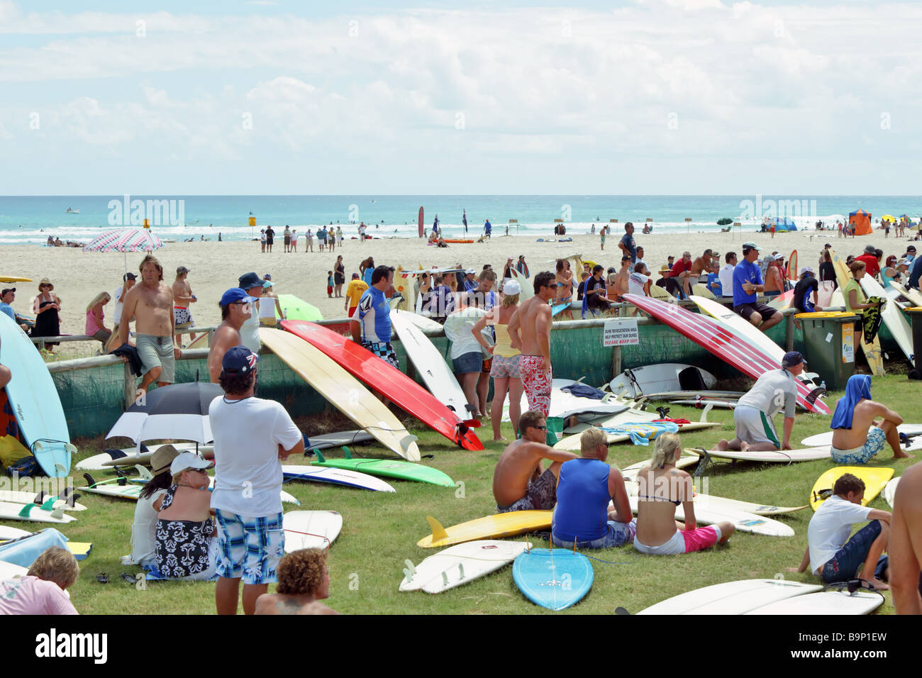 Protesters at a rally to protest beach pumping - Stock Image