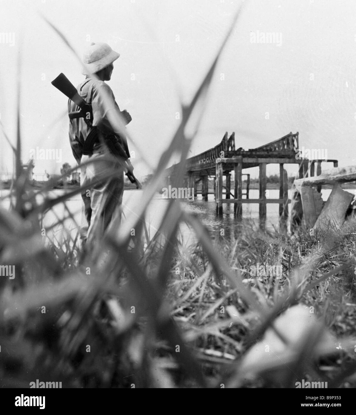 North Vietnamese frontier guard keeping vigil on the border with South Vietnam - Stock Image