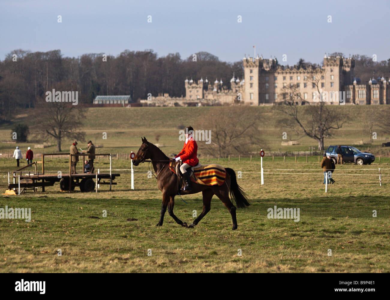 Master Of The Hunt Wearing Hunting Pink Red On Horseback With Floors Stock Photo Alamy