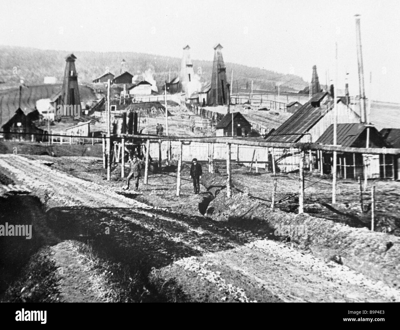 View of the Ukrainian Borislav city in the early 20th century - Stock Image