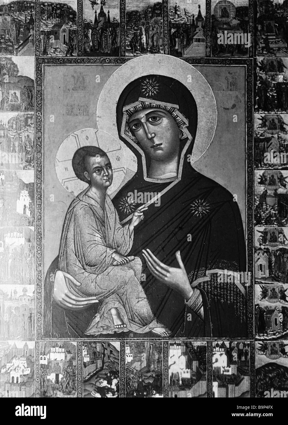 Unknown artist Our Lady of Tikhvin Icon preserved at St Andronicus Monastery Moscow - Stock Image