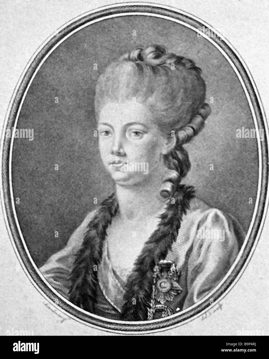 Reproduction of the etching Yekaterina Dashkova by Skorodumova from the Hermitage Museum collection - Stock Image