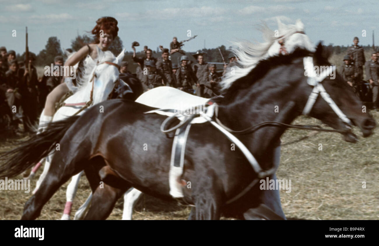 Arena A still from the film Margarita Volodina as stunt rider Masha - Stock Image