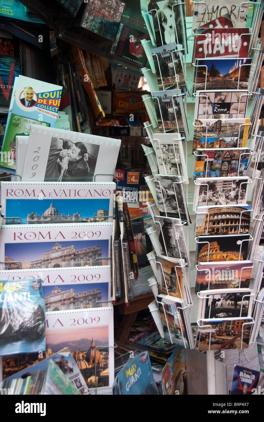 Postcards in a newstand in Rome - Stock Image