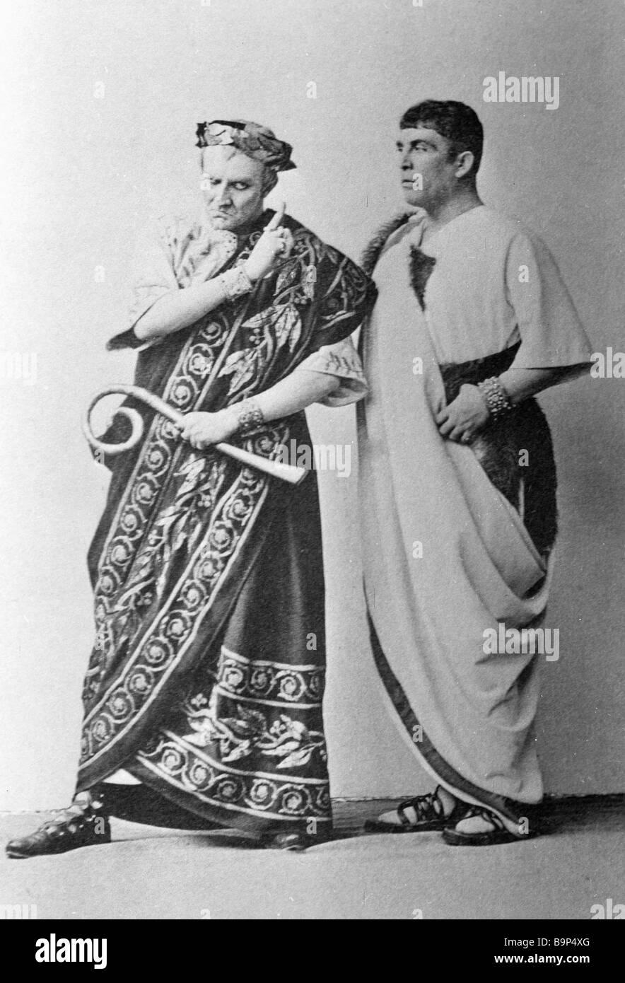 Actor Vasily Kachalov left as Julius Caesar and actor Alexander Vishnevsky right as Mark Antony in Julius Caesar - Stock Image
