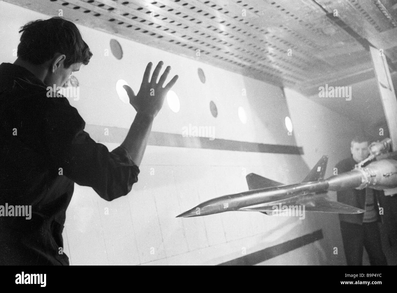 A model of the Tu 144 in a supersonic very large wind tunnel - Stock Image