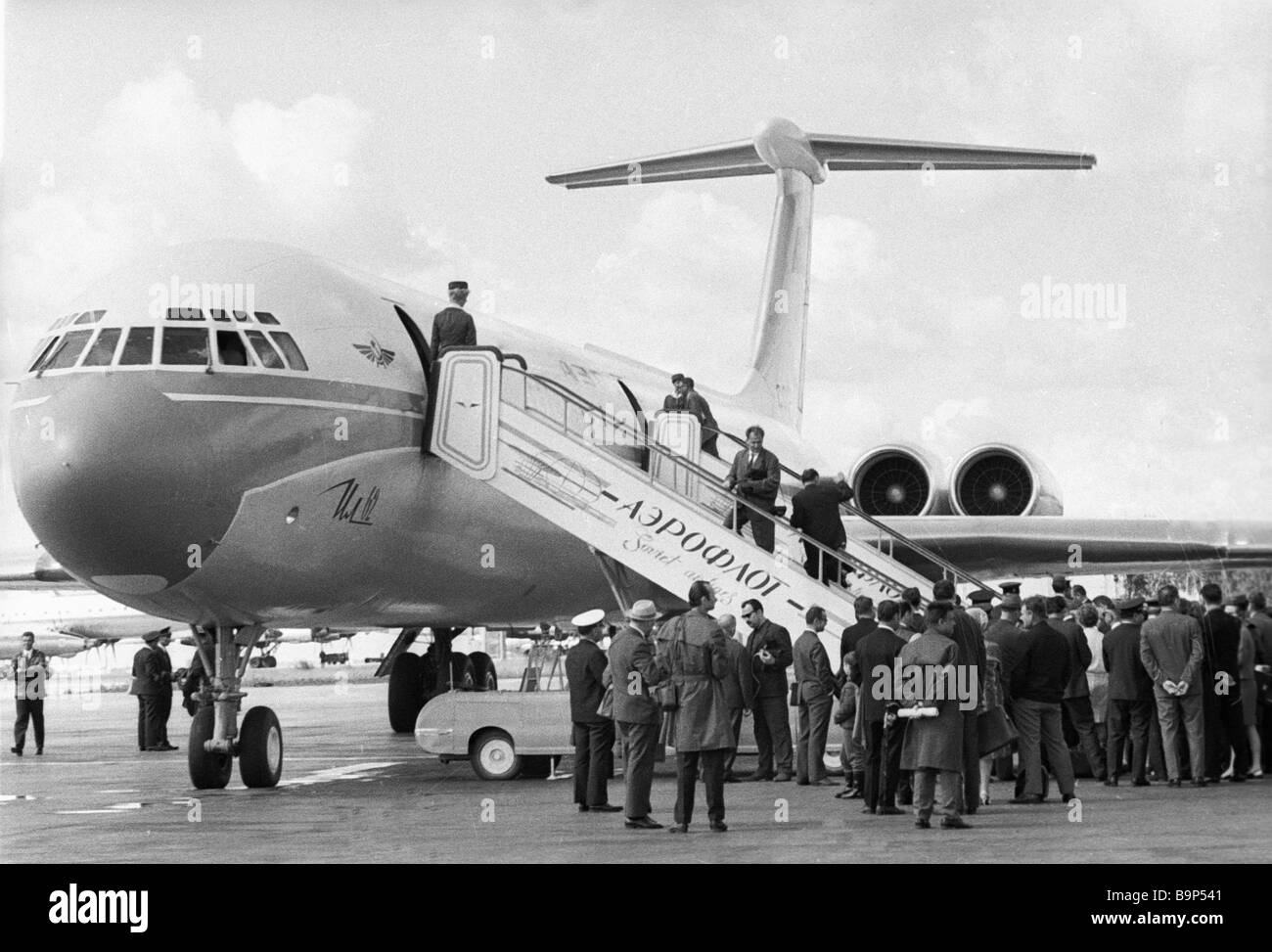 Passengers boarding an IL 62 plane at Sheremetyevo airport - Stock Image