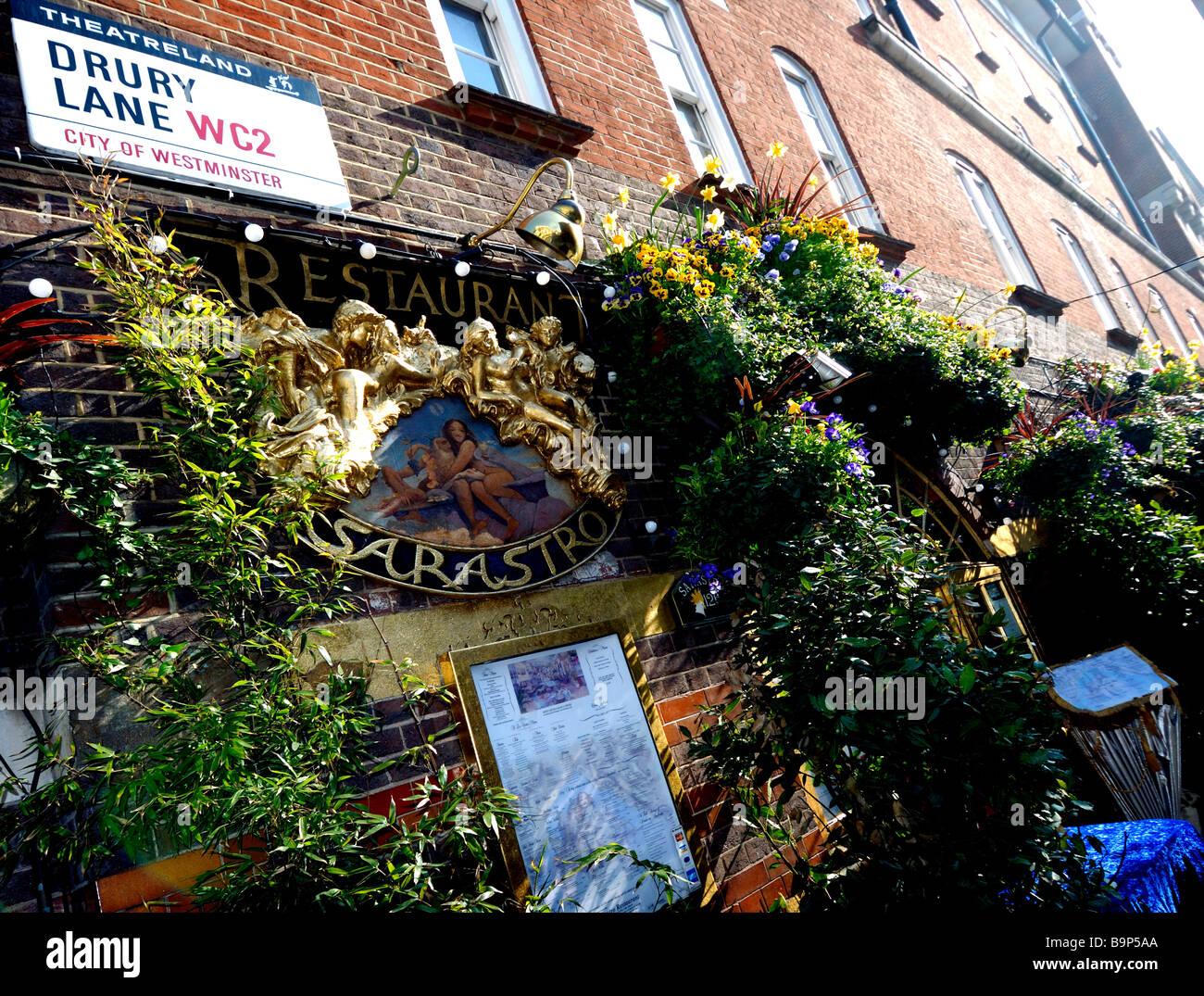 Sarastro restaurant exterior, Drury lane, London - Stock Image