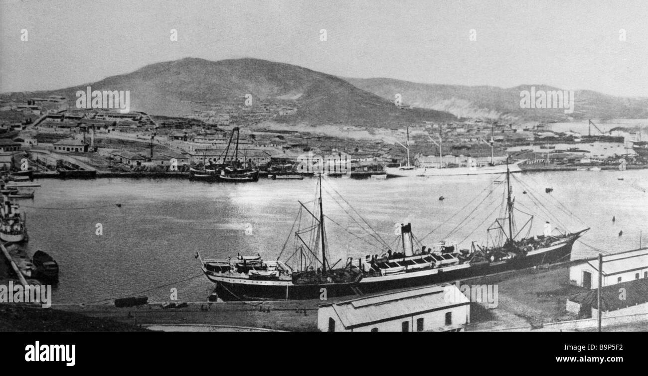 View of Port Arthur 1904 - Stock Image