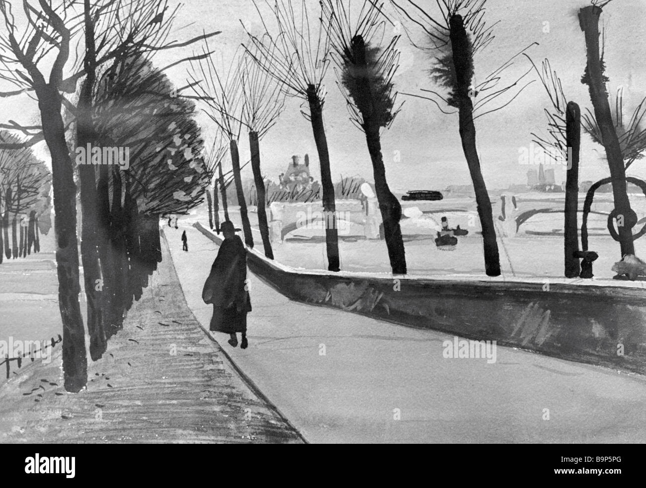 Reproduction of the gouache drawing Paris The Seine Embankment by Alexander Deineka - Stock Image