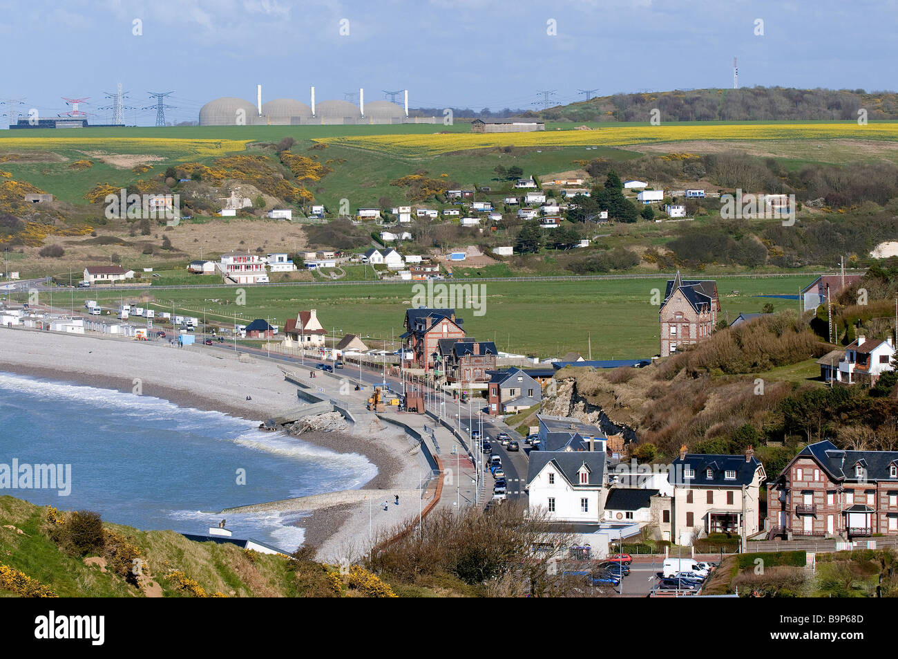 France, Seine Maritime, Veulettes sur Mer and the nuclear plant of Paluel - Stock Image