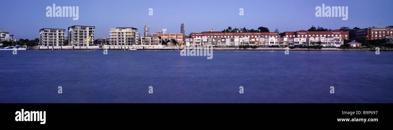 New Farm & Newstead Brisbane Australia panoramic waterfront view - Stock Image