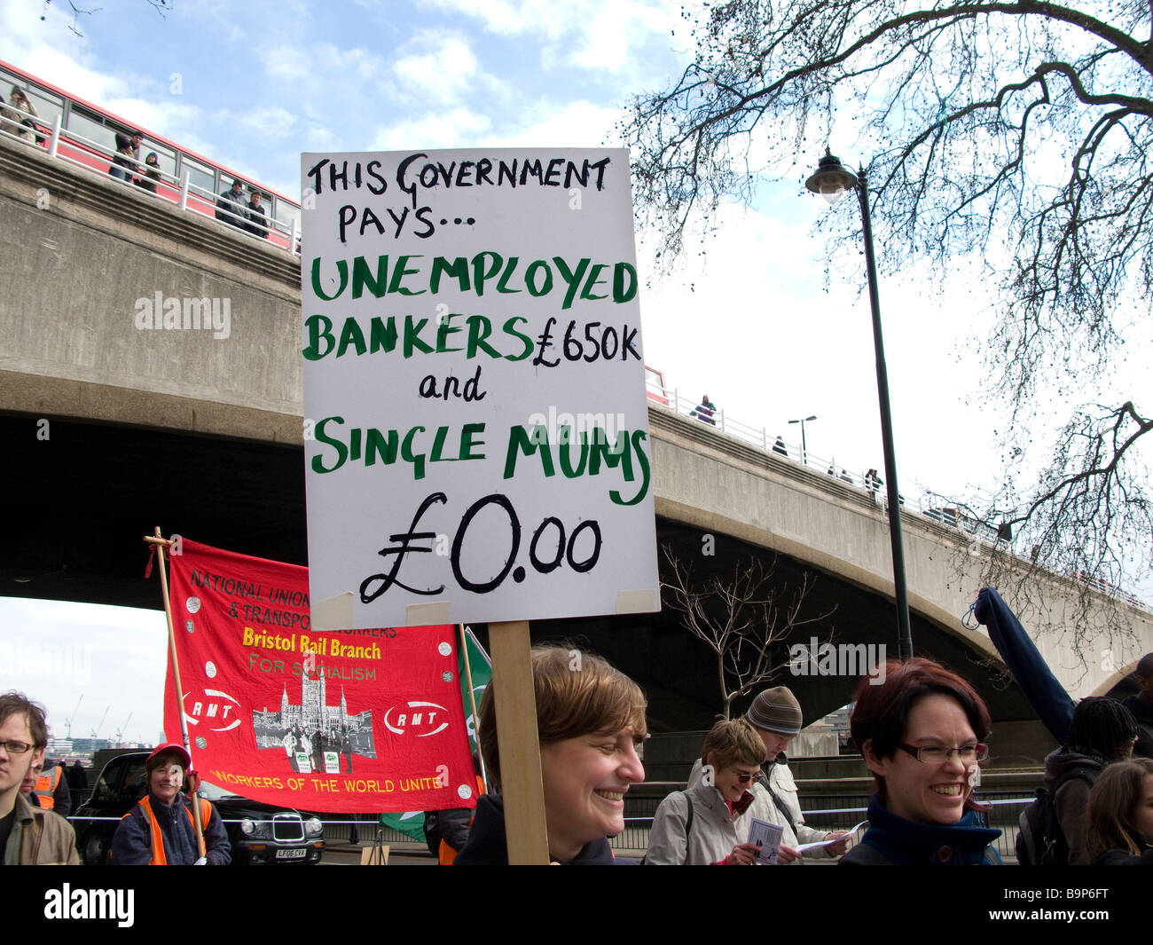 G20 protest march in central London, 28/03/09. - Stock Image
