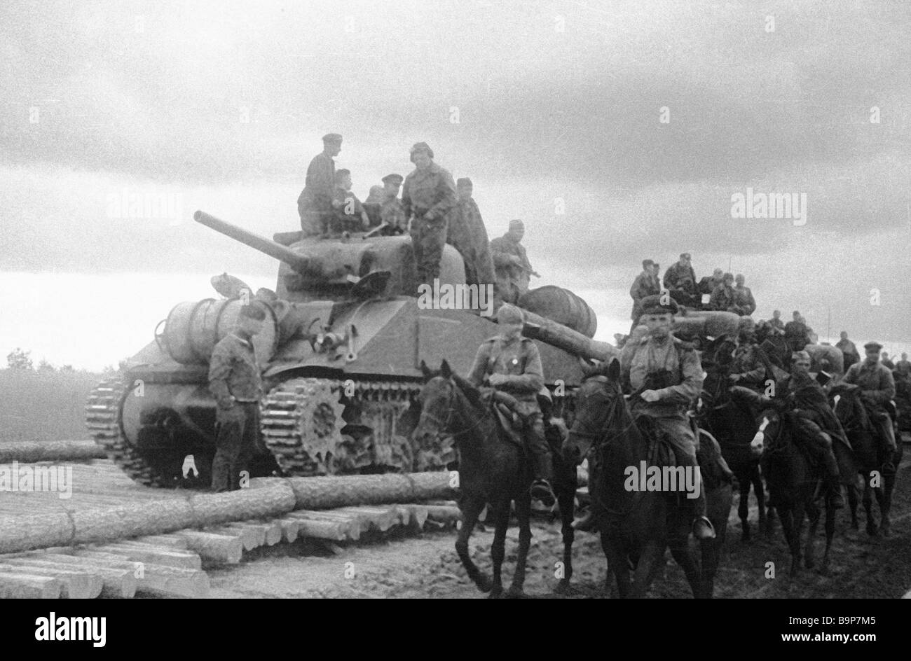 South Western front cavalry detachment and tank unit on land leased American Sherman tanks - Stock Image