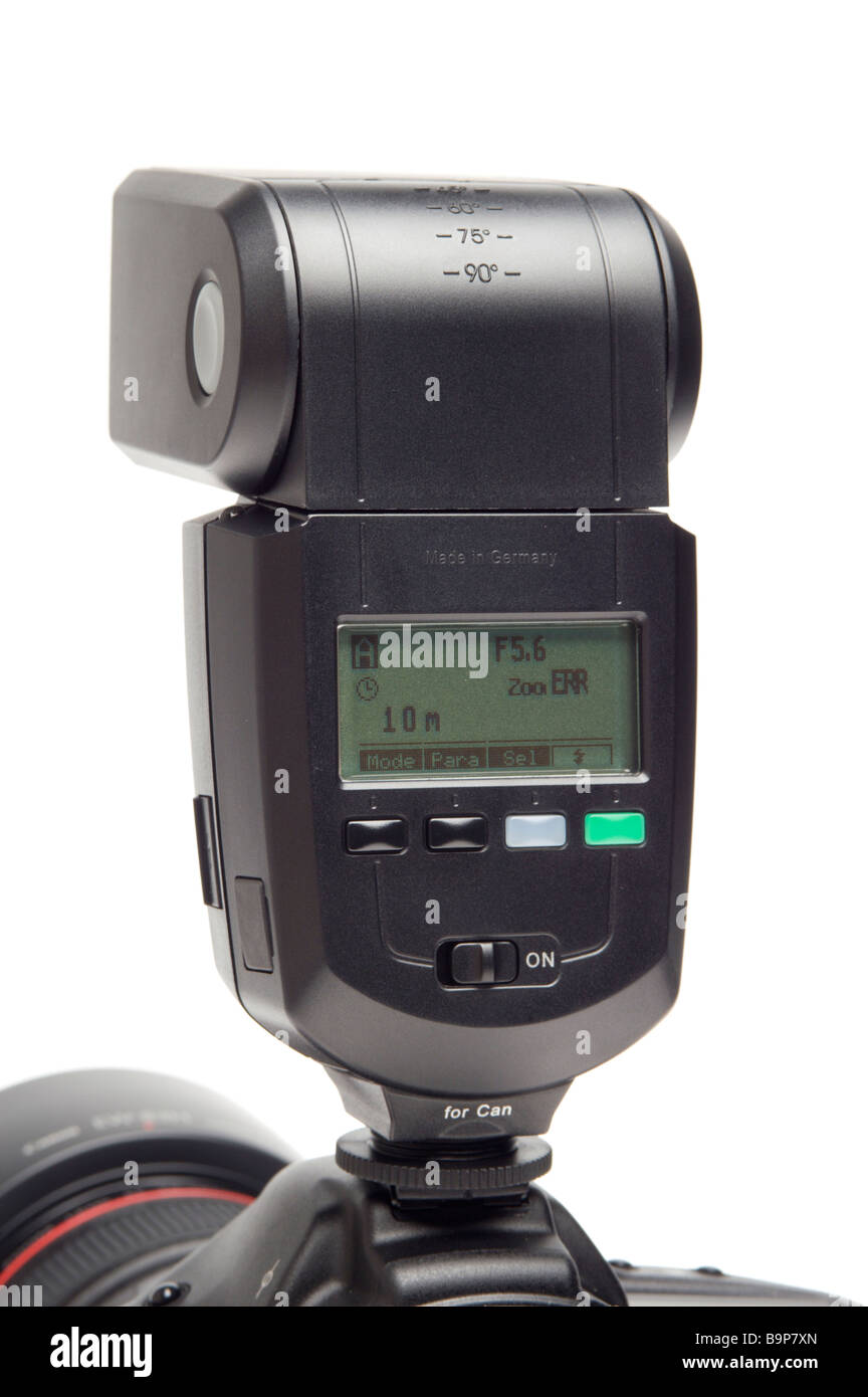 A Metz electronic flashgun for digital single lens reflex cameras - Stock Image