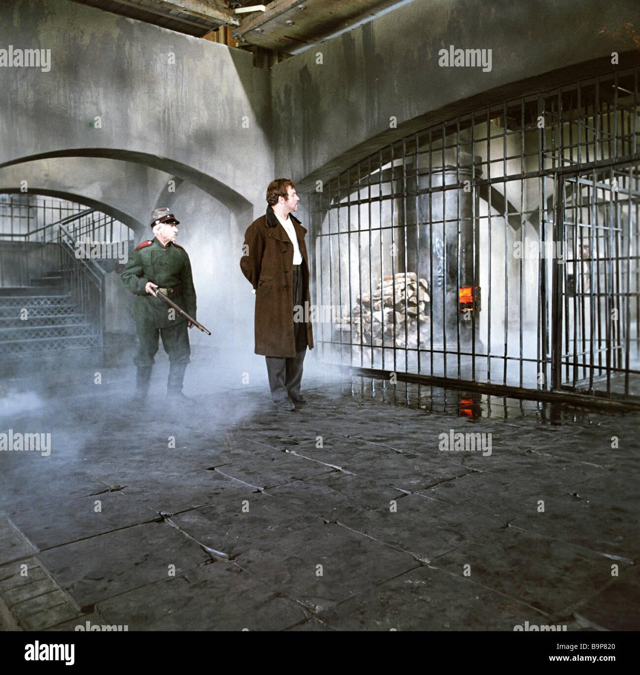 Mikhail Ulyanov center as Mitya Karamazov in the film The Brothers Karamazov - Stock Image