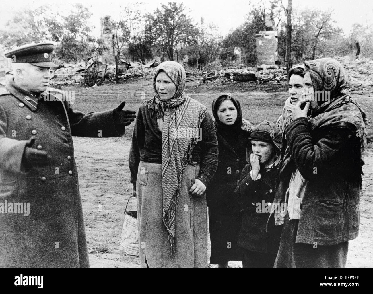 Member of the military council of the 1st Ukrainian Front Nikita Khrushchev talking to people in liberated Brovary - Stock Image