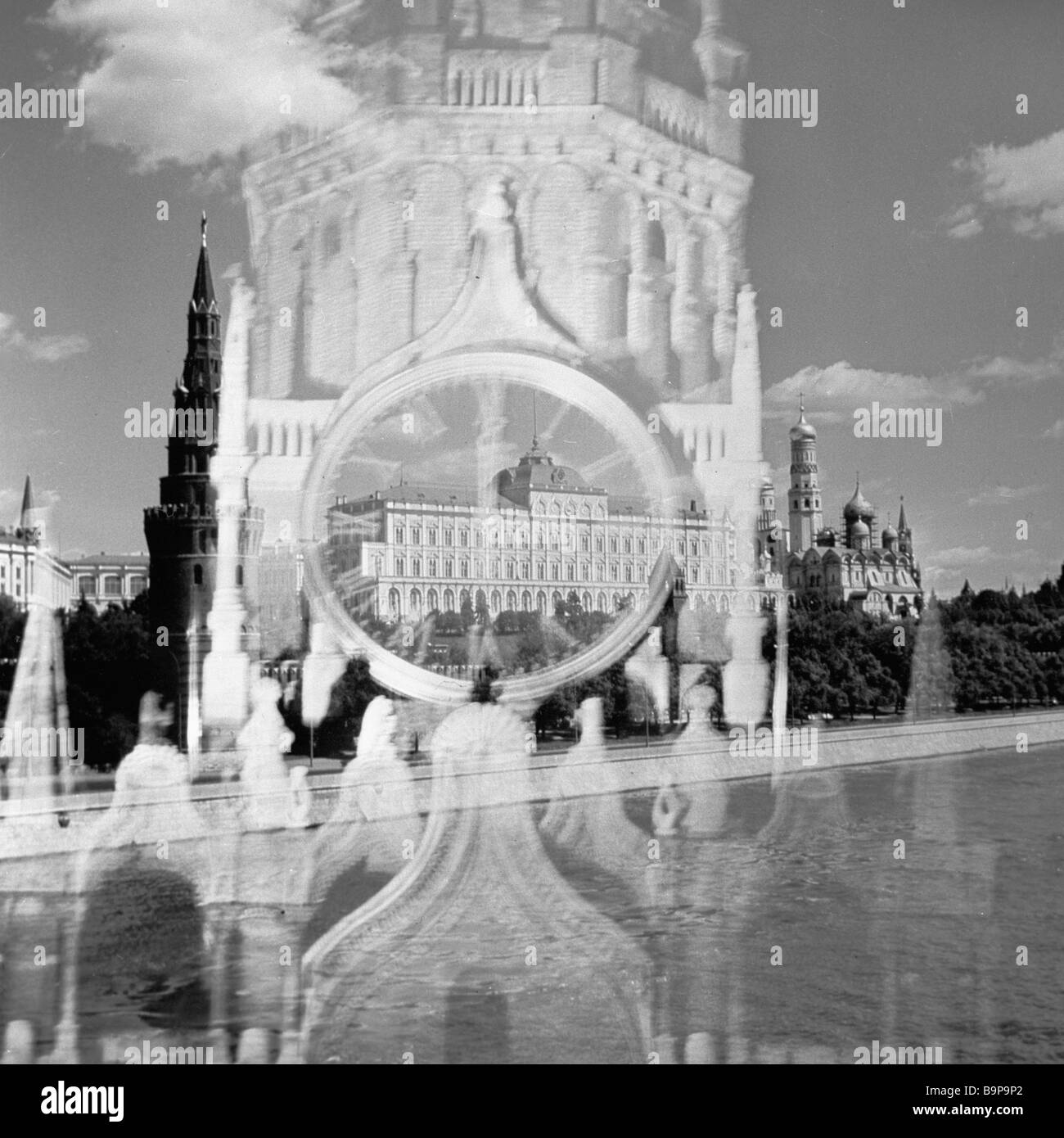 Photo collage The Kremlin Moscow - Stock Image