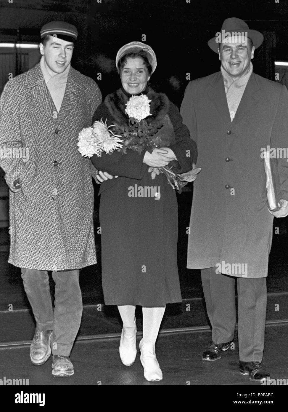 Celebrated Soviet singer Georg Ots right with wife centre and elder son left - Stock Image