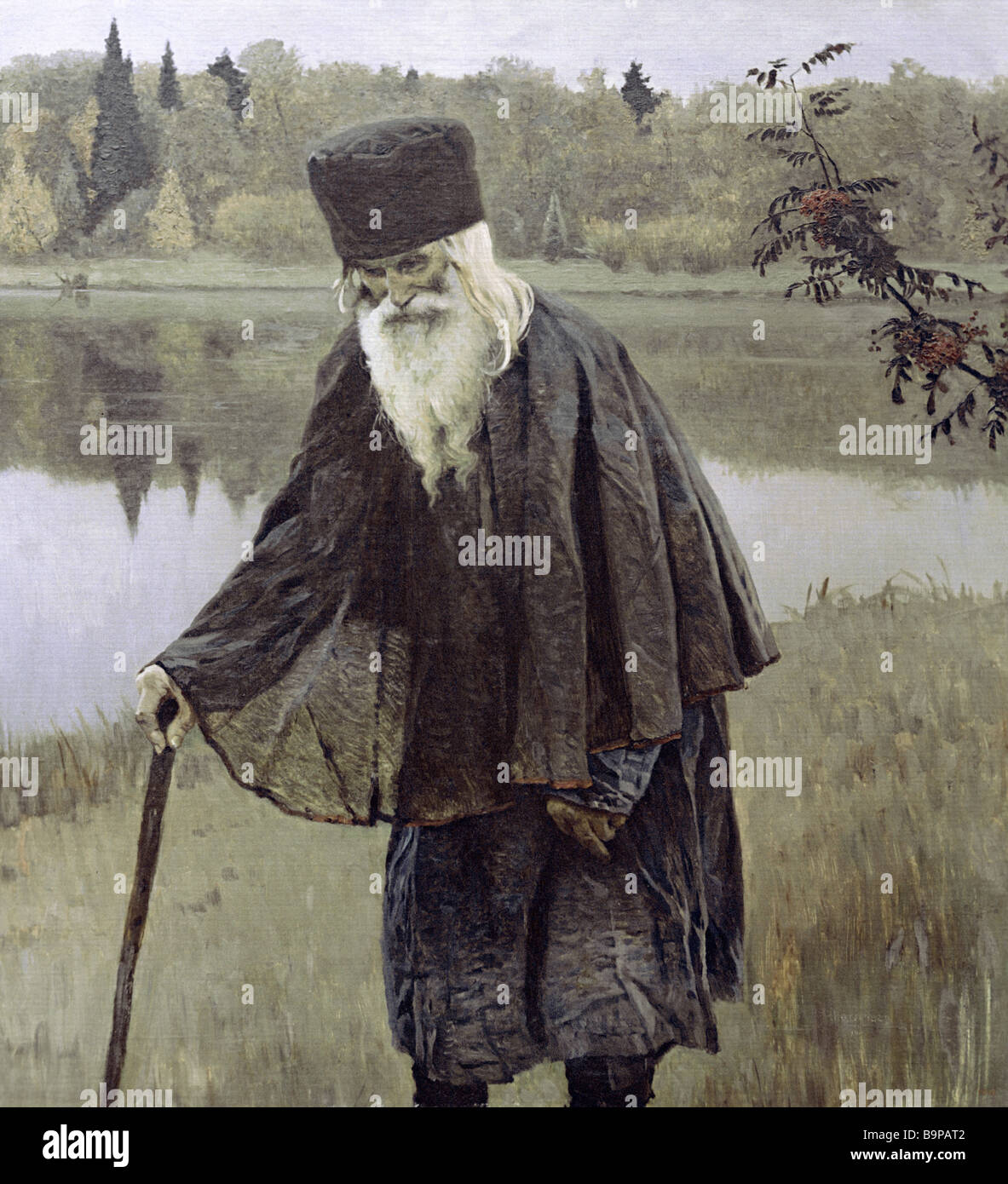 A reproduction of Mikhail Nesterov s painting The Hermit From the collection of the State Russian Museum - Stock Image