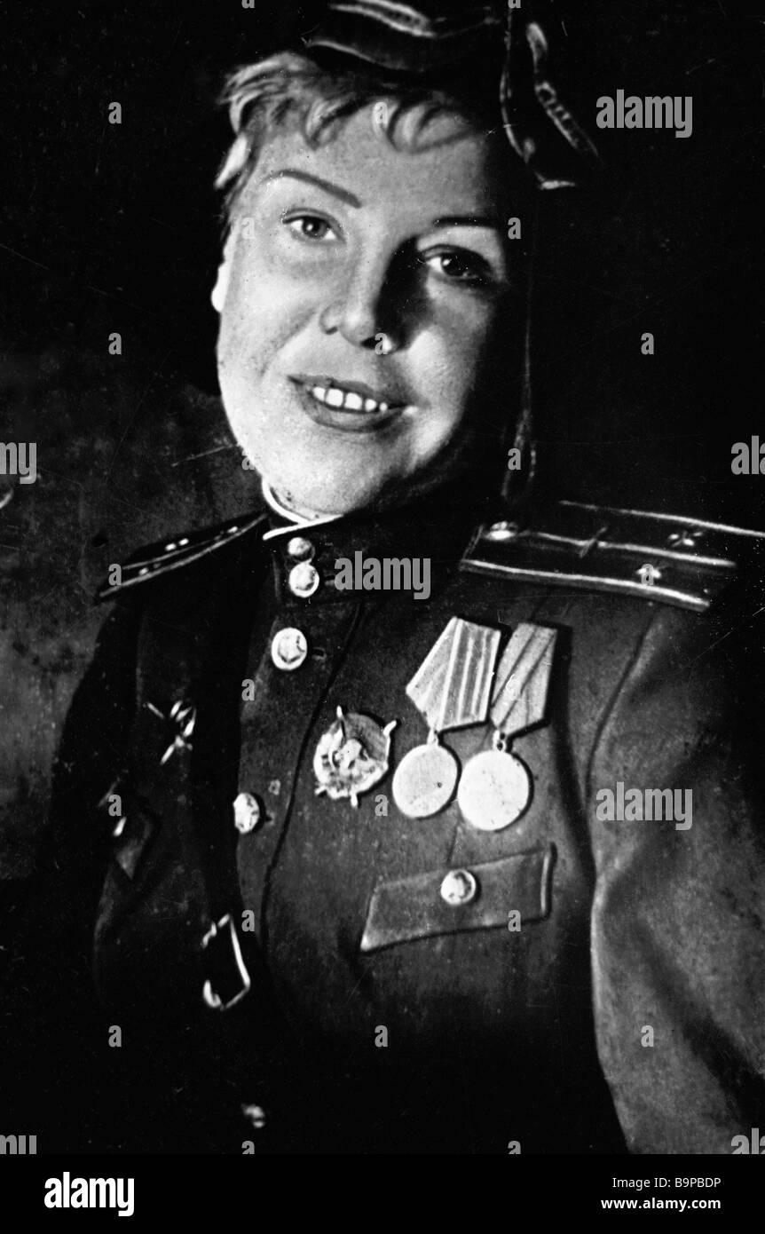 Wartime hero pilot Olga Lisikova - Stock Image