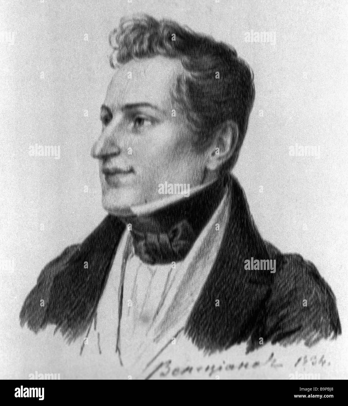 Alexei Venetsianov Portrait of Russian classic writer Nikolai Gogol Autolithograph 1834 - Stock Image