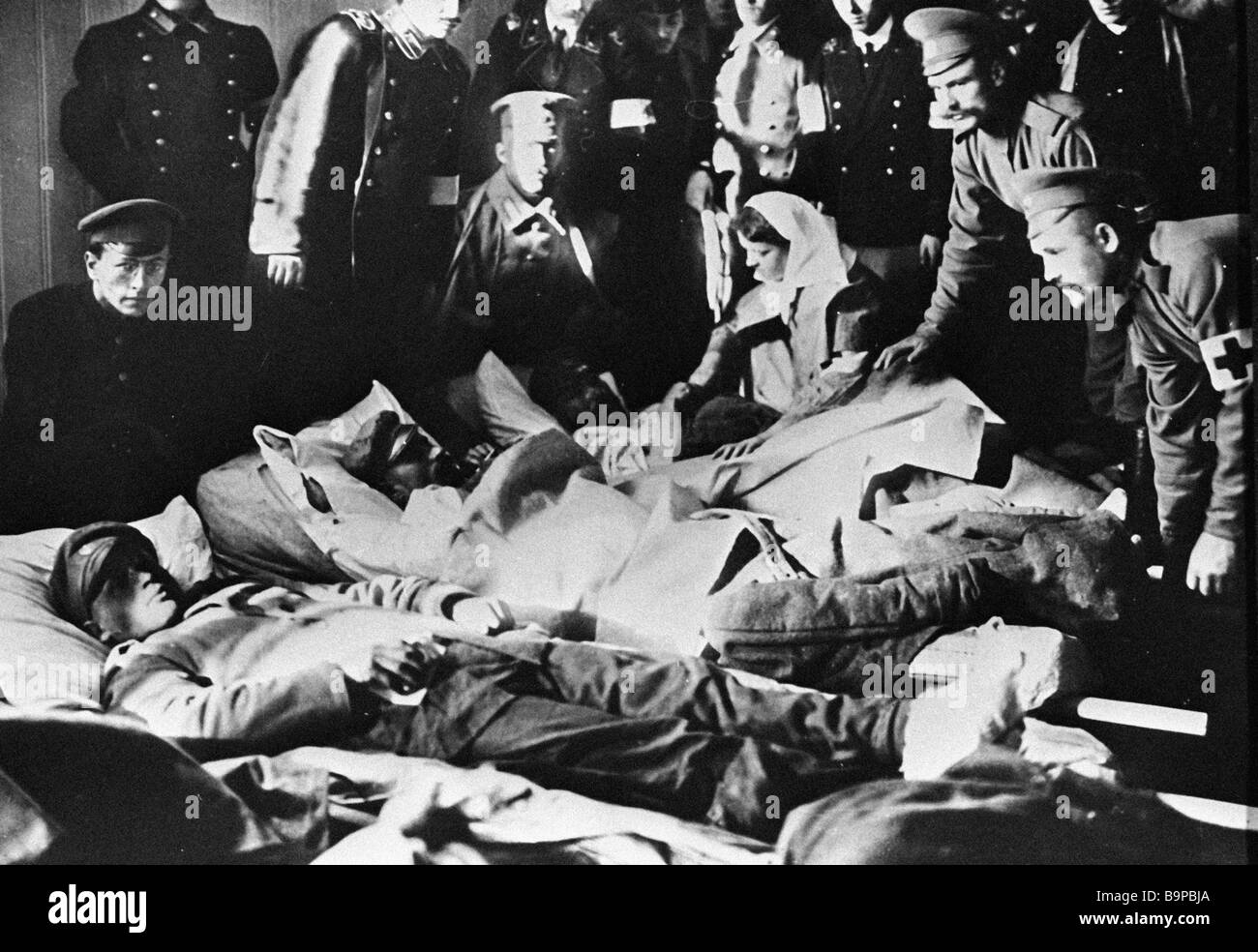 Wounded World War One soldiers in the Geography Society hospital - Stock Image