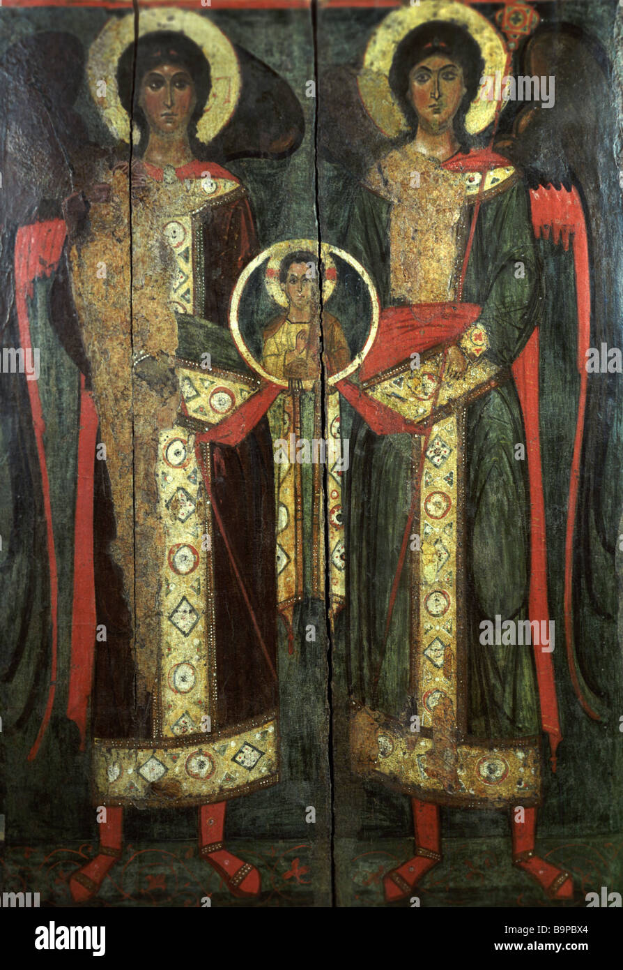 The Council of the Archangel Michael Icon 13th century Veliky Ustyug Museum - Stock Image