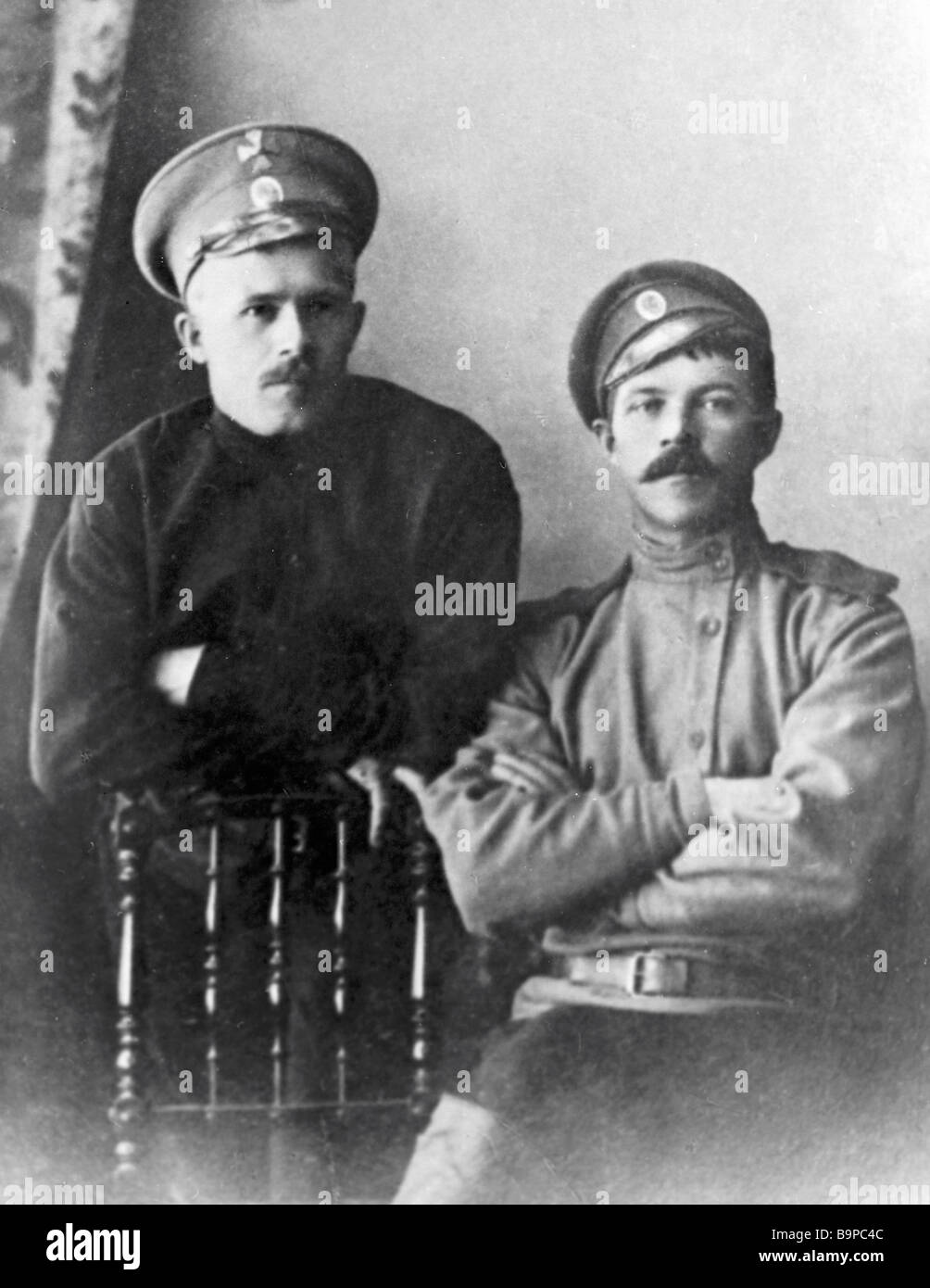 Writer Alexander S Neverov right during WWI - Stock Image