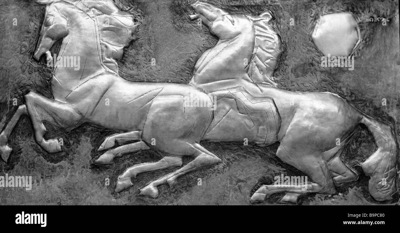 Irakly Ochiauri The Red Horses Embossed metal relief - Stock Image