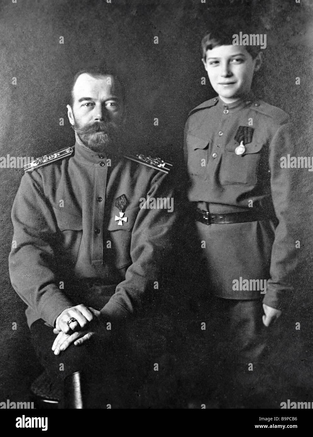 Russian Emperor Nicholas II with his son Alexei Photo 1915 - Stock Image