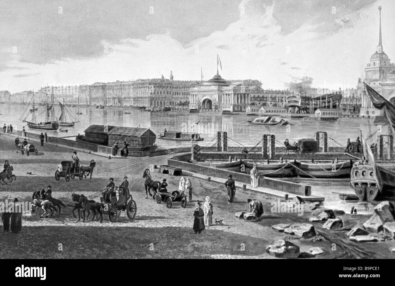 Reproduction of 1800 painting The Winter Palace and the Admiralty by Fedor Alexeyev - Stock Image