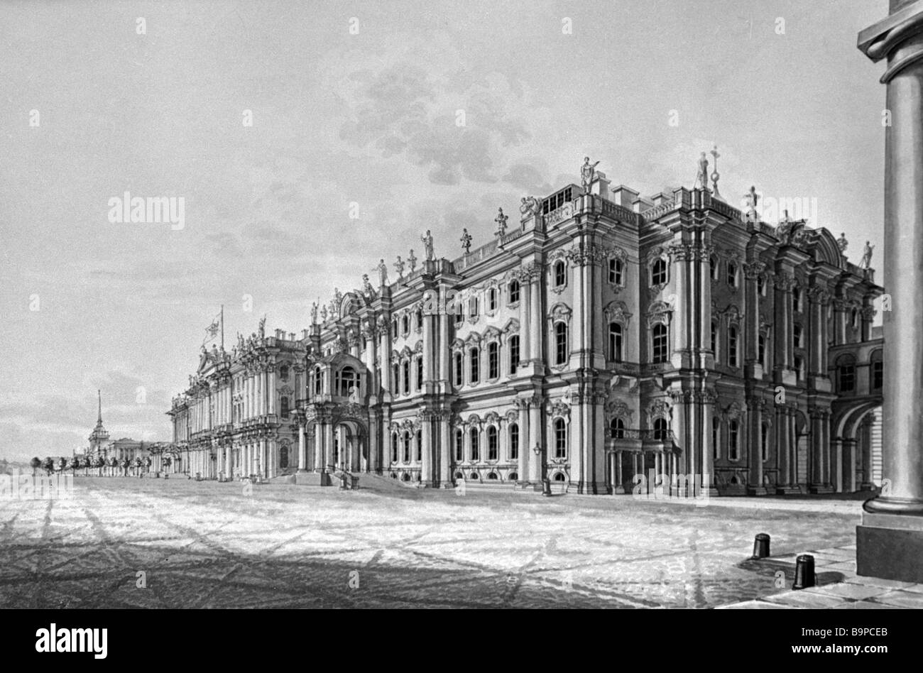 Reproduction of nineteenth century engraving The Winter Palace in St Petersburg - Stock Image