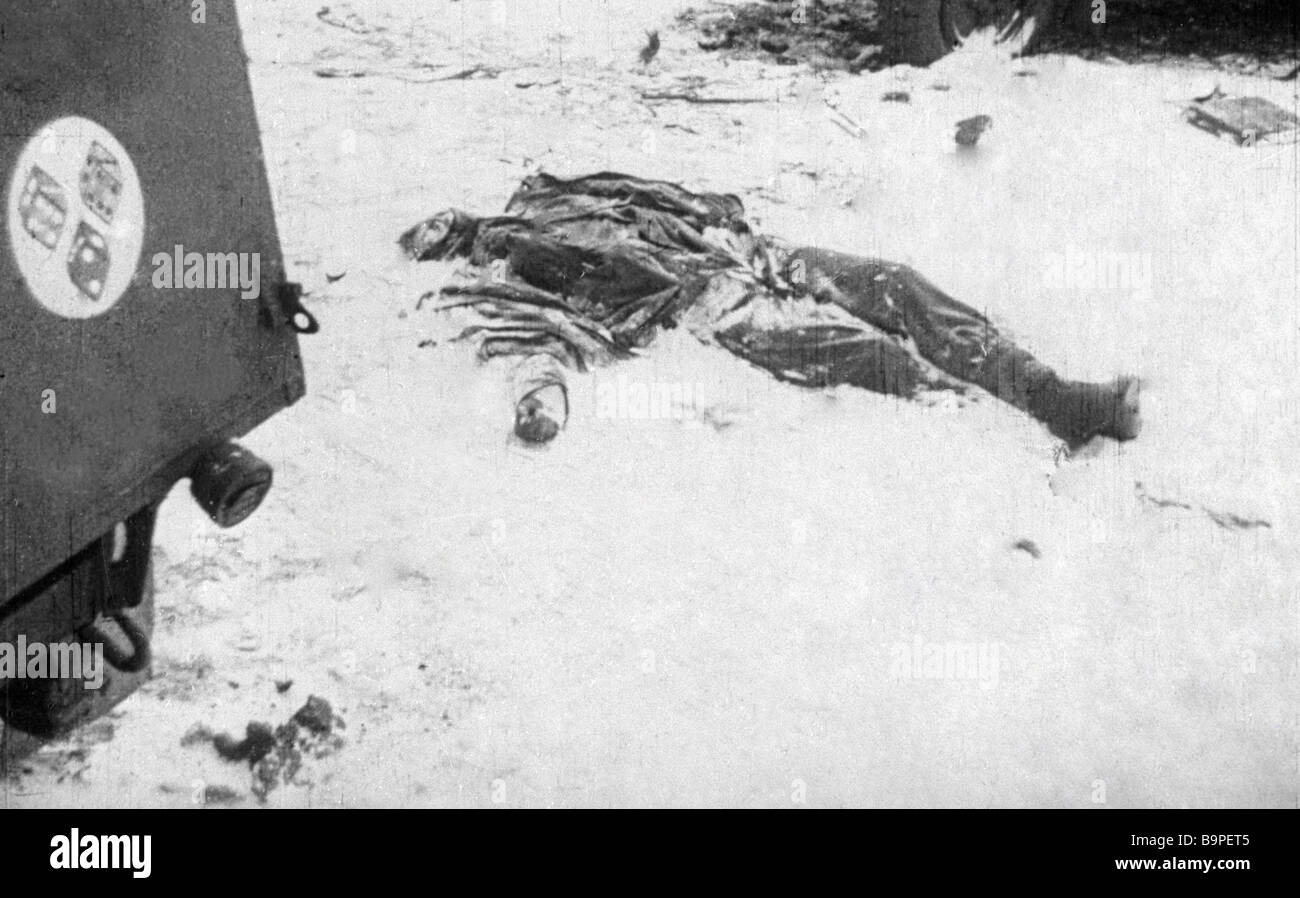 A body of a German soldier killed near Stalingrad - Stock Image