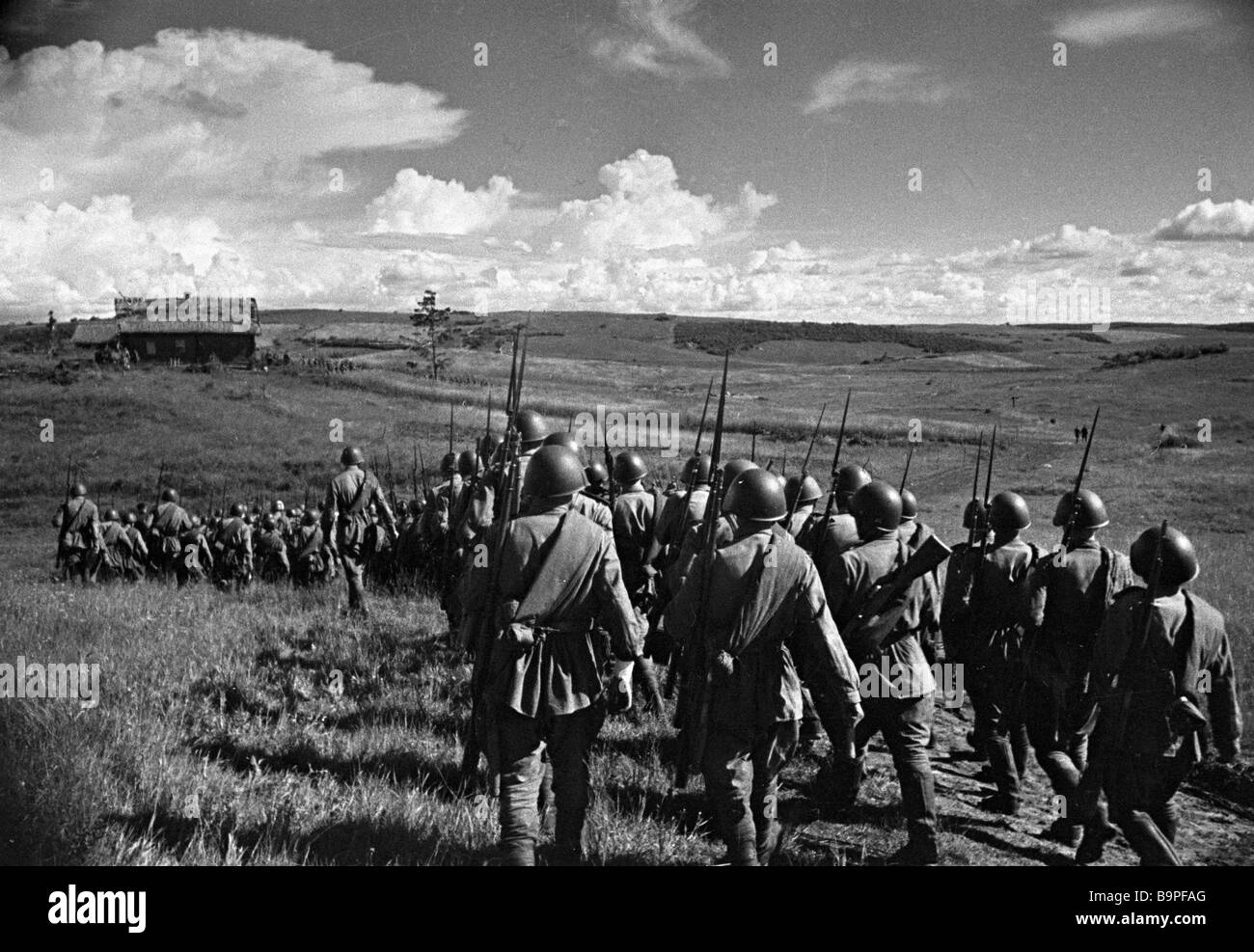 Soviet soldiers going to the frontline - Stock Image