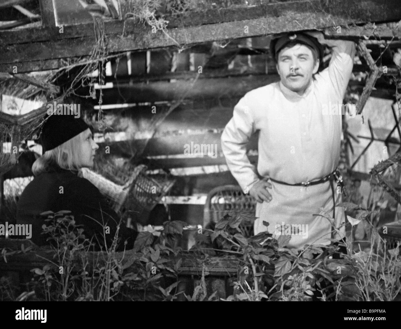 Actor Andrei Myagkov as Alexei Karamazov left and Mikhail Ulyanov as Dmitry Karamazov right in film The Brothers - Stock Image